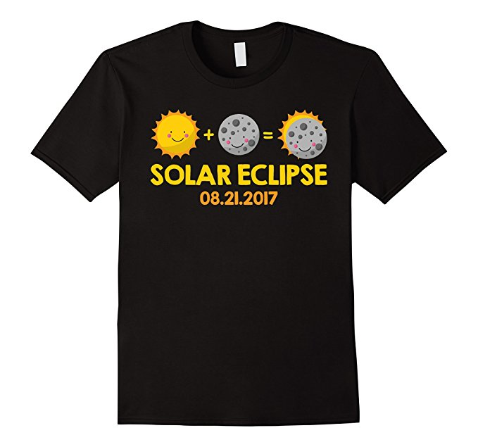 Kids Cartoon T-Shirt for the August 21st, 2017 Total Solar Eclipse - black