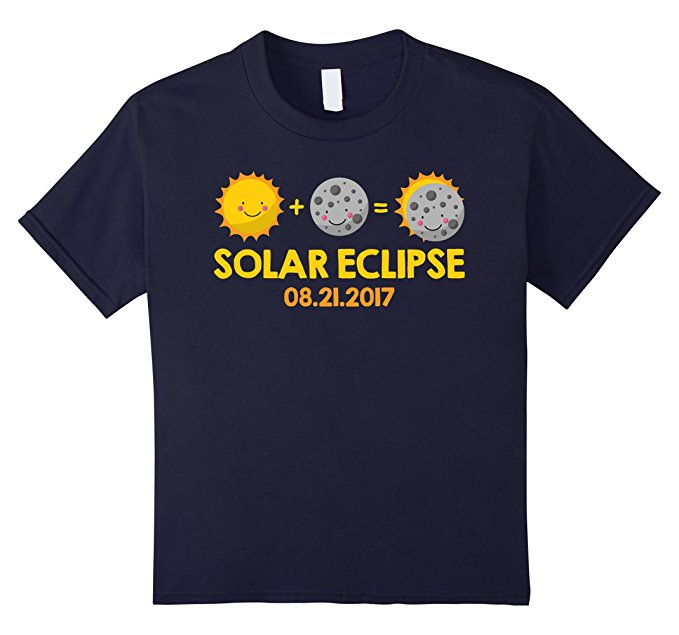 Kids Cartoon T-Shirt for the August 21st, 2017 Total Solar Eclipse - navy