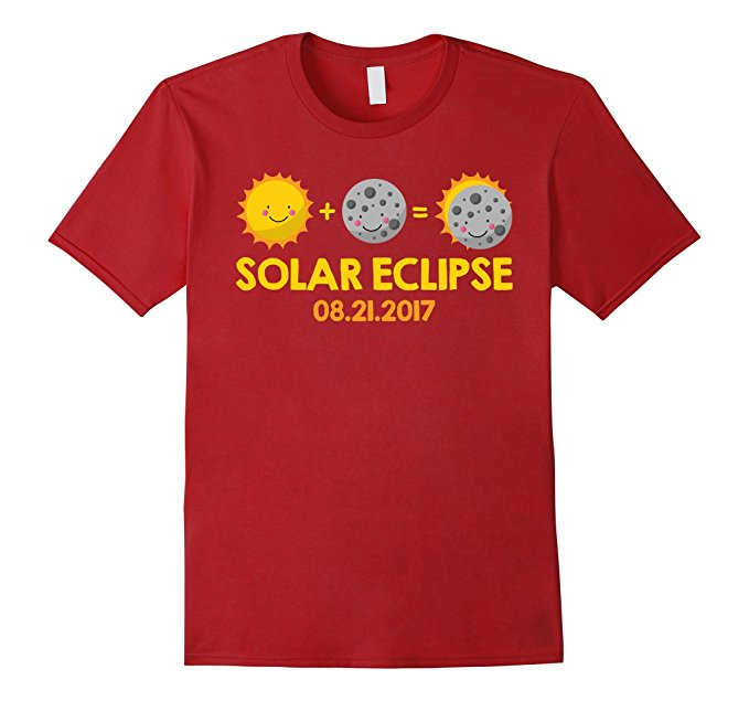 Kids Cartoon T-Shirt for the August 21st, 2017 Total Solar Eclipse - red