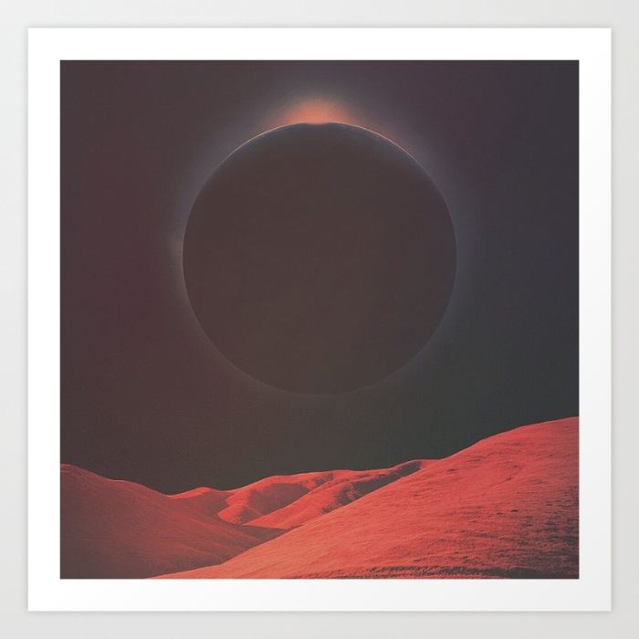 A print where the focal point is some large, foreign planet creating a solar eclipse over a reddish grassy landscape