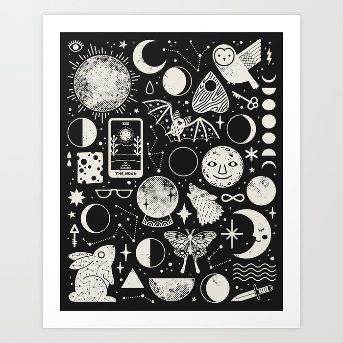 A black-and-white pattern print of things you find in the sky (e.g. the phases of the moon, stars, constellations, the sun) and earth based objects, symbols, and animals (e.g. a knife, a butterfly, a wolf, the infinity sign, cheese, etc).